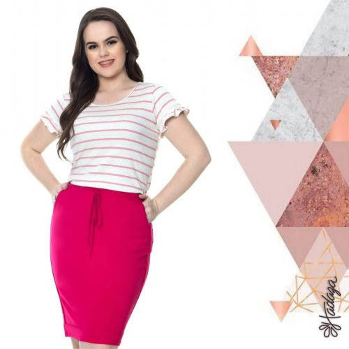 Saia Plus Size Em Malha Pink  Hadaza