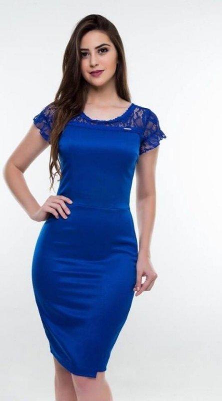 Vestido azul Com detalhes Em Renda Via Caruso