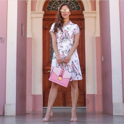 Vestido chemise com botoes funcional Maria Amore