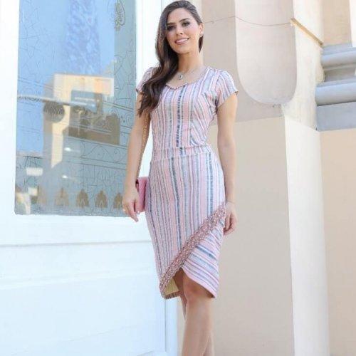 Vestido Com Guippir Bordado Maria Amore