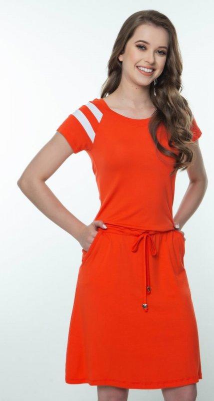 Vestido Laranja de Malha Com Recortes Off nas Mangas Hapuk
