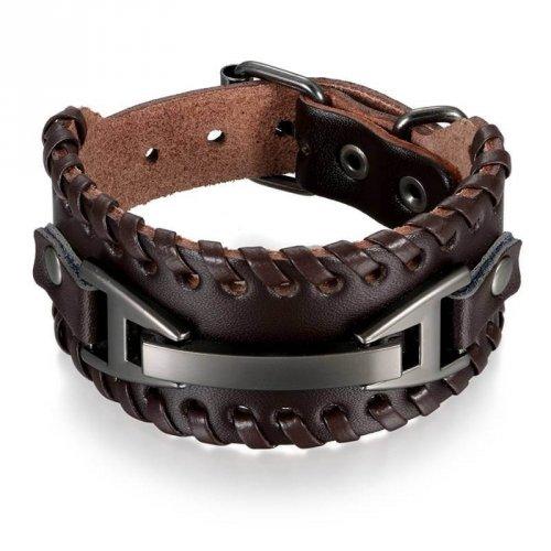 Bracelete Masculino de Couro Com Fivela Em Metal Grafite - BC06
