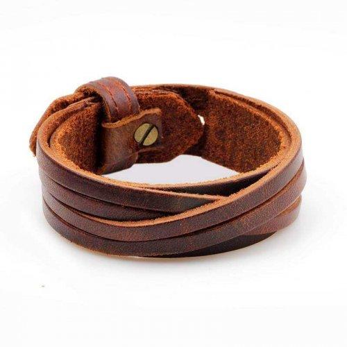 Bracelete de Couro Marrom com Detalhe Transpassado - BC03-M