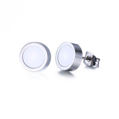 Brinco Masculino Botão Laqueado Branco 1 Par - BR15