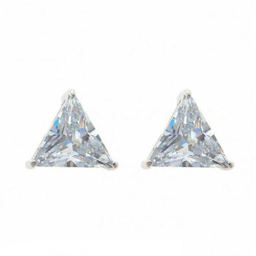 Brinco Masculino de Prata 925 E Pedra Zircônia Triangulo 1 Par - BR33