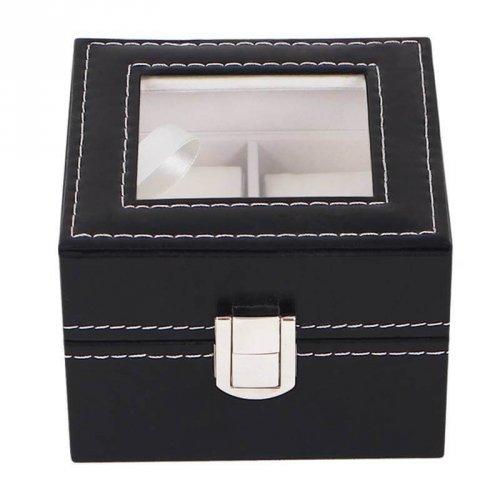 Caixa Para 2 Relógios ou Pulseiras Em Couro Sintético e Tampa de Vidro