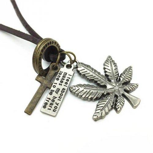 Colar de Couro Masculino Marijuana - CC52