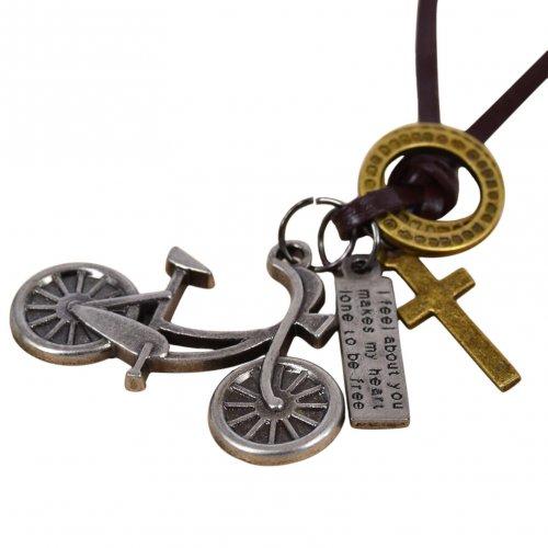 Colar Masculino de Couro Bicicleta em Aço Inoxidável - CC53