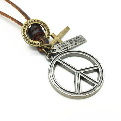 Colar Masculino De Couro Paz Mundial - CC30