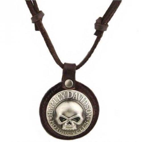 Colar Masculino de Couro e Metal Harley-Davidson Skull - CC21