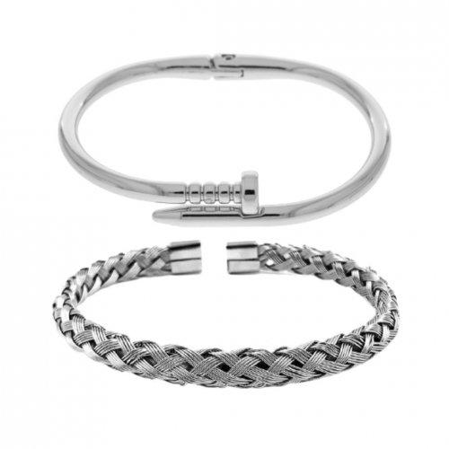Combo de Pulseiras Masculina de Aço Prego + Bracelete Trançado