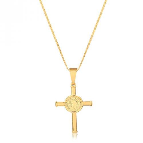 Corrente Serpente Com Cruz São Bento Banhado A Ouro