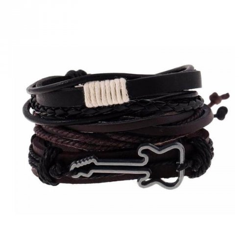 Kit Pulseira de Couro Masculina Rock And Roll - KP18