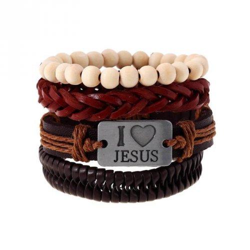 Kit Pulseiras de Couro Masculina I Love Jesus - KP17