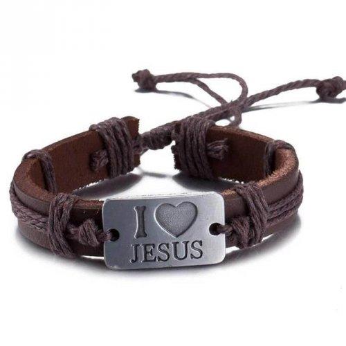 Pulseira de Couro Marrom com Placa de Aço Eu Amo Jesus - PC47-A