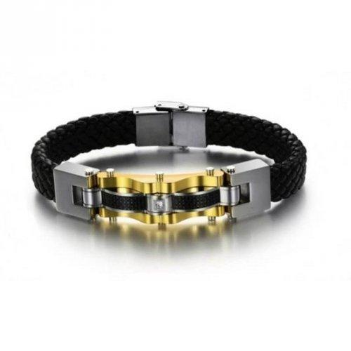 Pulseira Masculina Couro Fibra de Carbono e Aço com Banho Ouro 18K - PCL01