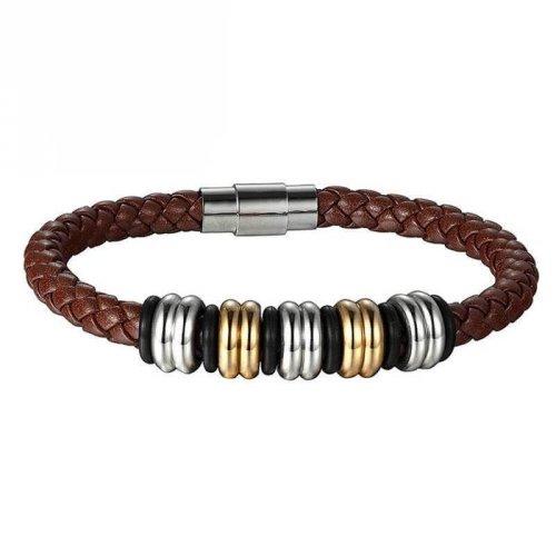 Pulseira de Couro Marrom com 5 Beads Prata e Ouro - PC58-B