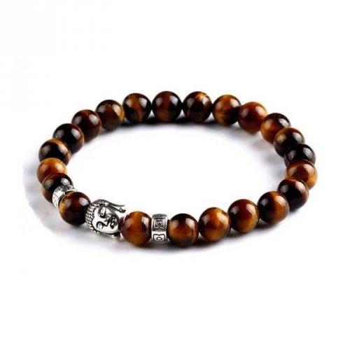 Pulseira de Pedra Olho de Tigre com Buda e Beads em Aço - PP12