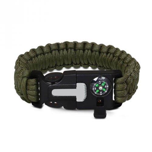 Pulseira de Sobrevivência Paracord Survival  5 em 1 Verde Militar - PD15