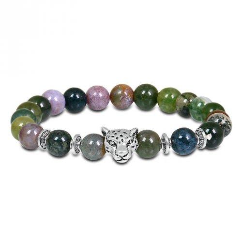 Pulseira de Pedra Masculina com Tigre em Aço Inoxidável - PP27