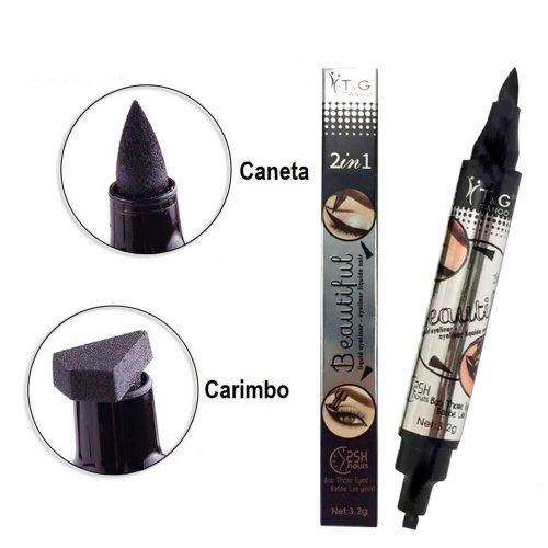 Caneta e Carimbo Delineador de Olhos - Gatinho - 2 Em 1 - Tango