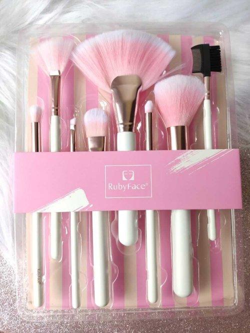 Ruby Face Kit de Pincéis para Maquiagem - Branco e Rosa