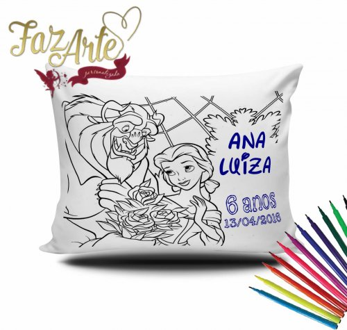 Almofada para colorir Bela & Fera