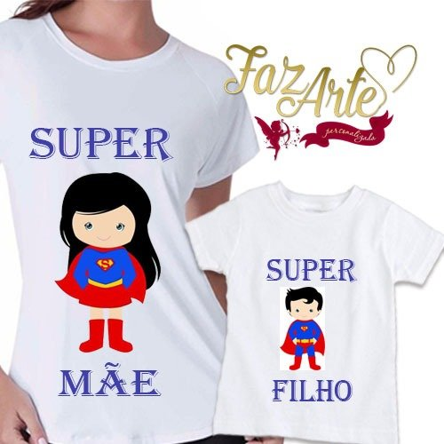 9afb659fca Kit 2 Camisetas Super mãe Super filho