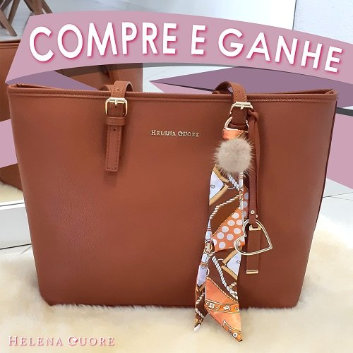 Bolsa Veneza Caramelo + Gravatinha Bege