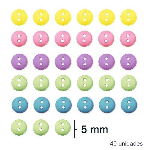 Botão Mini Sortido Bebe - 5 mm - 40 Unidades