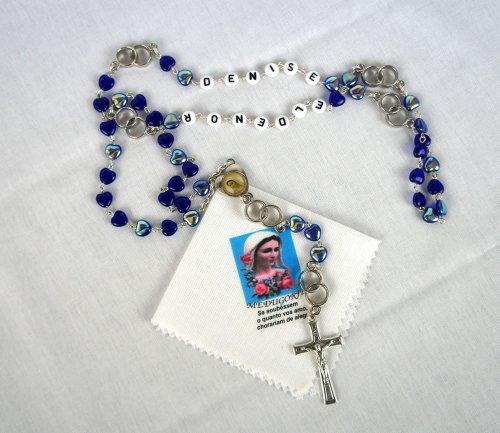 Terço Azul de Casal Personalizado com seu nome + Lenço do Cristo Ressuscitado