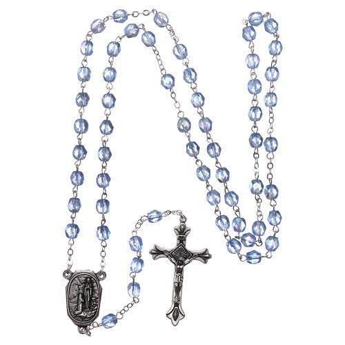 Terço de vidro com água de Lourdes