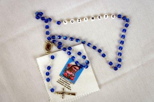Terço Azul Individual/Solteiro Personalizado – 1 Nome + Lenço do Cristo Ressuscitado