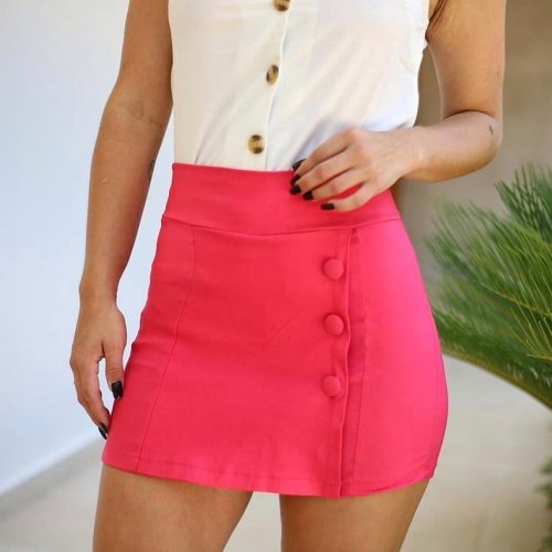 Short saia em bengaline com botões - pink