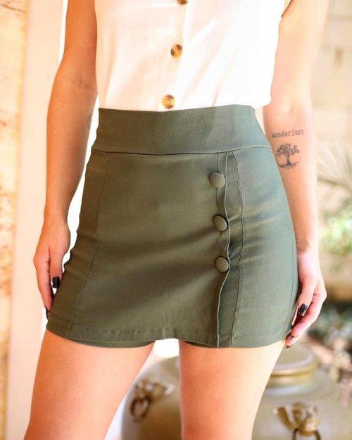 Short saia bengaline cim botões - Verde militar