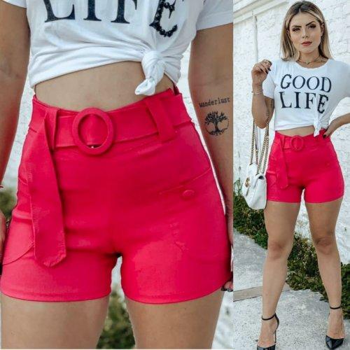 Shorts em bengaline com cinto e botões - Pink