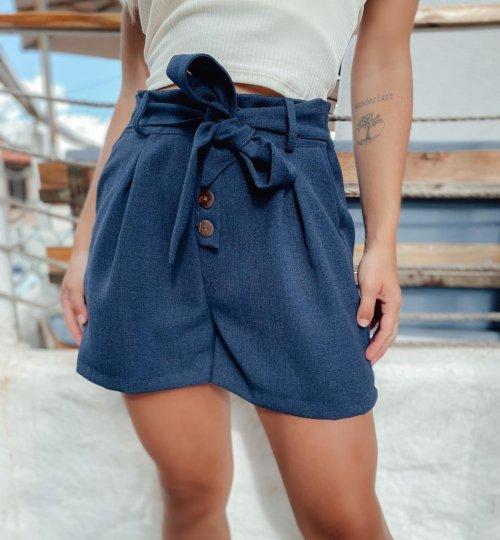 Shorts em linho com detalhe de botões - Azul Marinho