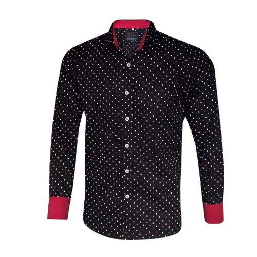 Camisa Social Masculina Slim Fit Preta Poá e2546324b7f