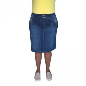 Saia Jeans Executiva Plus Size Azul