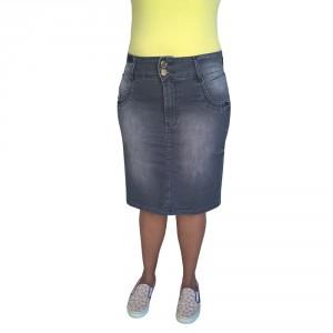 Saia Jeans Executiva Plus Size Preta