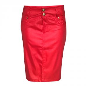 Saia Jeans Resinado Vermelho