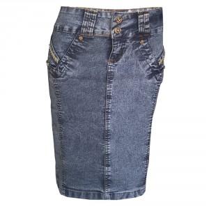 Saia Secretaria Jeans Estonado