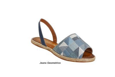 Sandália Avarca feminino Jeans Geometrico
