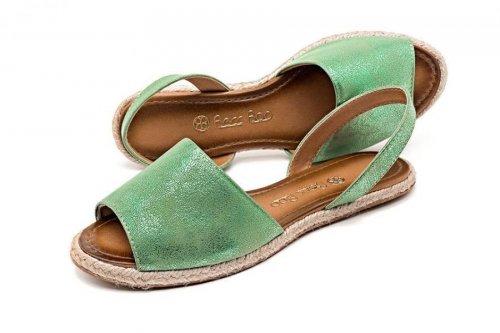 Sandália feminino Avarca brilho verde