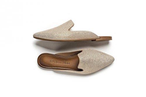 Sandália Flat Mule Feminino com Gliter