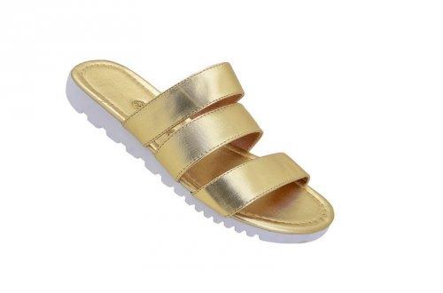 Sandália Rasteira Tratorada com Dourado Metalizado
