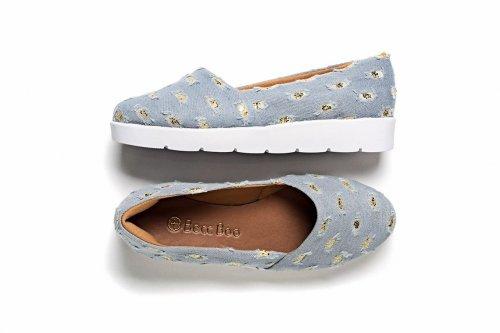 Tênis Slip-On Jeans Rasgado com Glitter