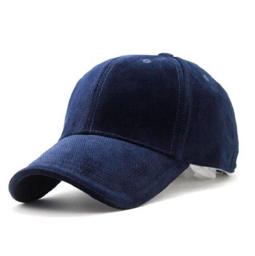 Boné Aba Curva de Veludo Azul Marinho