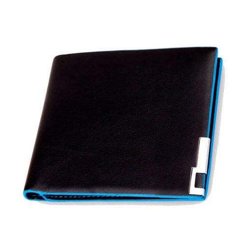 Carteira Masculina Couro PU e Detalhes Azul