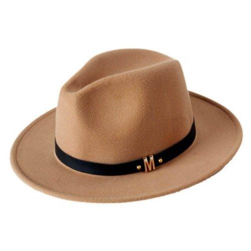 Chapéu Fedora de Lã Caramelo Com Faixa de Couro Preta